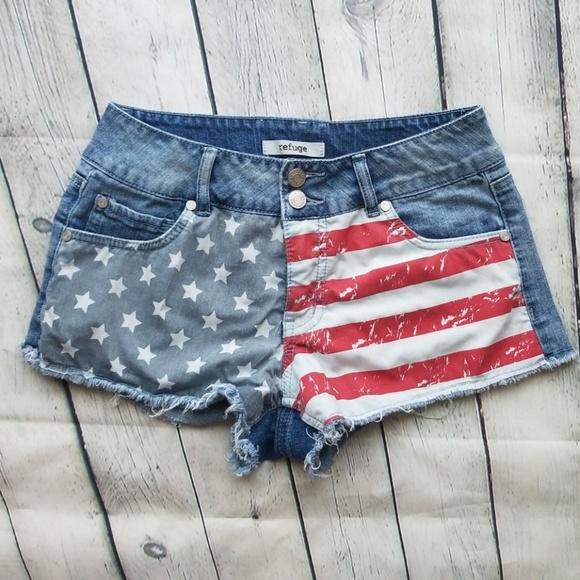 Charlotte Russe Pants - American flag refuge shorts